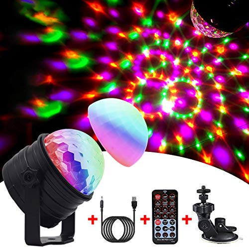 Disco Licht & Nachtlicht 2 in 1,Emooqi NEUES UPGRADE Discokugel 4M USB Kabel PartyLicht mit 360°Rotierenden & Musik Aktiviert &Fernbedienung für Kinder,Geschenk Geburtstag, Familienfeier,Weihnachten