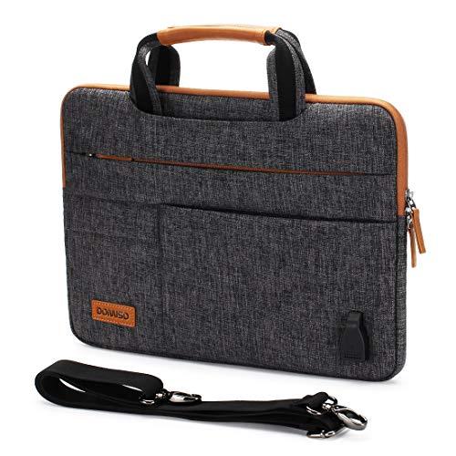 DOMISO 10,1-10,5 Zoll Wasserdicht Laptop Tasche Tragetasche Schultertasche mit USB Ladeanschluss für 9.7' Samsung Galaxy Tab / 9.7' iPad Pro / 10.1' Lenovo Tab 4 10 Plus/Asus/Acer/HP, Dunkelgrau