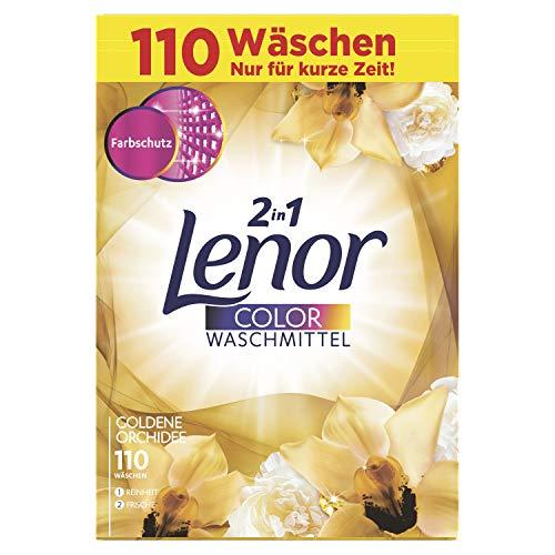 Lenor Colorwaschmittel Pulver Goldene Orchidee, 7kg, 1er Pack (1 x 110 Waschladungen)
