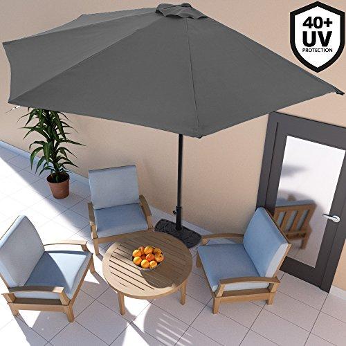 Deuba Sonnenschirm Ø 3m mit Kurbel halbrund UV-Schutz 40+ wasserabweisend anthrazit - Terrassen Sonnenschirm Balkonsonnenschirm Terrassenschirm Balkonschirm