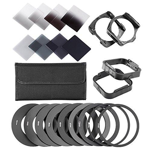 Neewer komplette Filtersatz für Cokin P-Serie umfasst (8) Neutral Dichte ND-Filter Set (Full ND2 ND4 ND8 ND16; Diplom G.ND2 G.ND4 G.N8 G.ND16), (9) Metall-Adapterring (49mm / 52mm / 55mm / 58mm / 62mm / 67mm / 72mm / 77mm / 82mm), (2) Quadratisch Filterhalter, (2) Quadratisch Streulichtblende (1) Filterschicht Tragetasche von Neewer