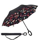 Baby Pig Innovative Reverse Regenschirm C-förmigem Hände frei Griff Double Layer Winddicht Taschenschirm Stockschirme für Damen und Herren.