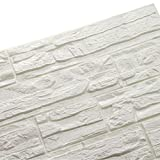 LEISU 3D Wandpaneele Selbstklebend Steinoptik weiß 3d Ziegelstein-Tapete Brick Muster Tapete für Kinderzimmer Schlafzimmer Wohnzimmer Moderne tv Schlafzimmer Wohnzimmer Dekor (60*60cm) (12pcs, Weiß)