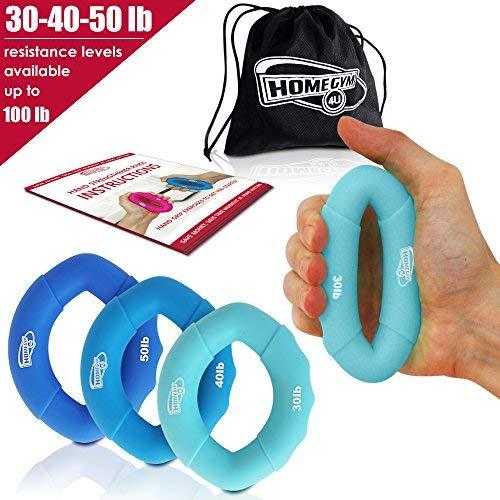 3 in 1 Handmuskeltrainer & Fingertrainer (5-45kg) - Handtrainer Ring & Unterarm Trainingsgerät aus Silikon für bessere Fingerkraft, Handkraft & Griffkraft - Unterarmtrainer & Anti Stress Ring