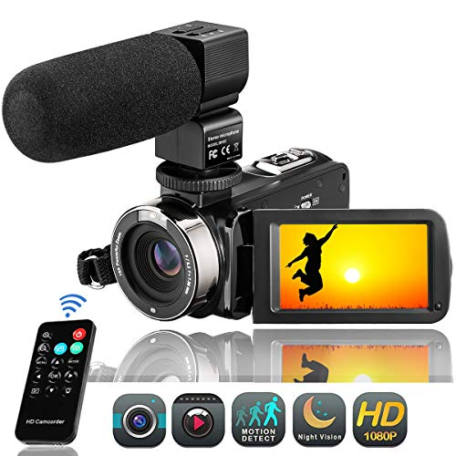 Camcorder Videokamera FHD 1080P Digitalkamera 24MP Video Camcorder 3' LCD Touchscreen IR-Nachtsicht 16X Digital Zoom Vlogging Kamera mit Mikrofon (3051STRM)
