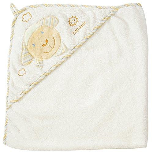 Fehn 397086 Kapuzenbadetuch Schaf / Bade-Poncho aus Baumwolle mit Schaf Motiv für Babys und Kleinkinder ab 0+ Monaten / Maße: 80x80cm