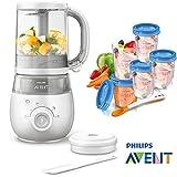 Philips Avent Easypappa 4-in-1 SCF 875/02 Dampfgaren + Mixen + Aufwärmen + Auftauen GRATIS Löffel + 5 Nahrungs-Mehrwegbecher