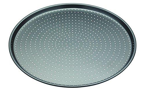 KitchenCraft KCMCCB14 'Crusty Bake' Antihaft-Pizzablech/Knusperblech, Stahl, grau, 32 x 32 x 1.4 cm
