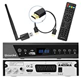 Digital Satelliten Receiver, SAWAKE SAT-Receiver mit WiFi Adapter/ Fernsteuerung/ HDMI Kabel/ Netz Stecker (WiFi, HDTV, DVB-S2, HDMI, SCART, 1 USB 2.0, Full HD 1080p, YouTube)