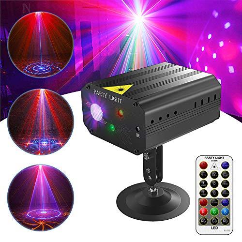 Discokugel, Gvoo Sound Aktivierte Party Light LED Bühnenprojektor 6 Farben 24 Muster mit Fernbedienung für Urlaub Party Kinder Geburtstag Karaoke Club Lichteffekte Weihnach