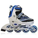 Kinderinliner Inline-skates mit Leuchtenden Rollen - Größen-verstellbar über vier Schuhgrößen - Blau - Gr. L (37-40)