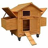 Melko XXL Hühnerstall Hühnerhaus inklusive Rampe, 157 x 90 x 114 cm, aus Holz, rollbar, 2 Nestboxen
