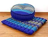 Yogaset / Meditationsset der Marke Asia Wohnstudio: 1 x Zafukissen (Yogakissen) + 1 x Sitzkissen (Meditationskissen) mit reiner Kapokfüllung, Günstiges Set im Angebot (orange)