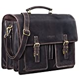 STILORD 'Anton' Aktentasche Leder XL Vintage Lehrertasche mit Laptopfach 15,6 Zoll große Ledertasche zum Umhängen Trolley aufsteckbar