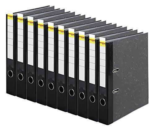 Schäfer Shop Ordner Wolkenmarmor 5 cm schmal mit Einsteckrückenschild - DIN A4 schwarz, 10er Pack, FSC-zertifiziert, Ringordner Aktenordner Briefordner Büroordner Pappordner