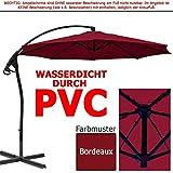 habeig WASSERDICHT Ampelschirm 3m Bordeaux rot durch PVC Schirm 300cm Sonnenschirm