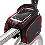 Fahrradtasche Fahrrad Rahmentasche Oberrohrtasche Handy Tasche Wasserdicht Sensitive Touch-Screen (Schwarz-Rot)
