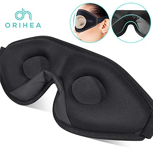 OriHea 3D Schlafmaske Damen und Herren. Premium Schlafbrille mit Innovativem verstecktem Nasenflügel-Design, Blockiert Licht 100% Augenmaske, verstellbare Premium Seiden Schaum Augenbinde.