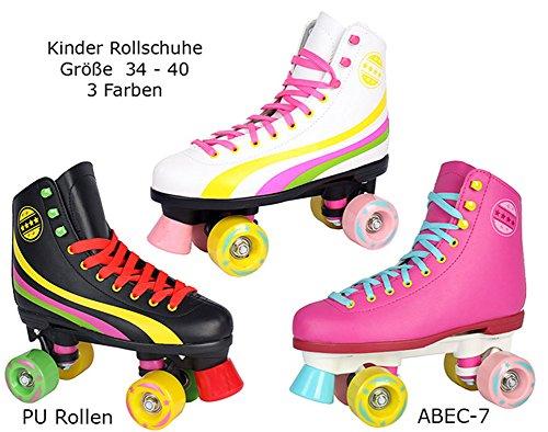 Rollschuhe für Kinder Rollerskates NEU Gr. 34 35 36 37 38 39 40 Pink weiß schwarz (36, schwarz)