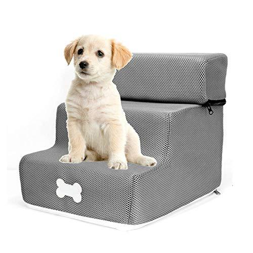 Hundetreppe für Kleine Hunde 30cm Hoch Klappbar 3 Stufen Haustiertreppe für Hunde Katzen Faltbar Grau Pet Walk Treppe Einstiegshilfe Abnehmbare und Waschbare Treppenleiter 30x35x30cm/11.8x13.7x11.8in