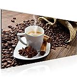 Bilder Kaffee Coffee Wandbild 100 x 40 cm Vlies - Leinwand Bild XXL Format Wandbilder Wohnzimmer Wohnung Deko Kunstdrucke Braun 1 Teilig -100% MADE IN GERMANY - Fertig zum Aufhängen 501812a