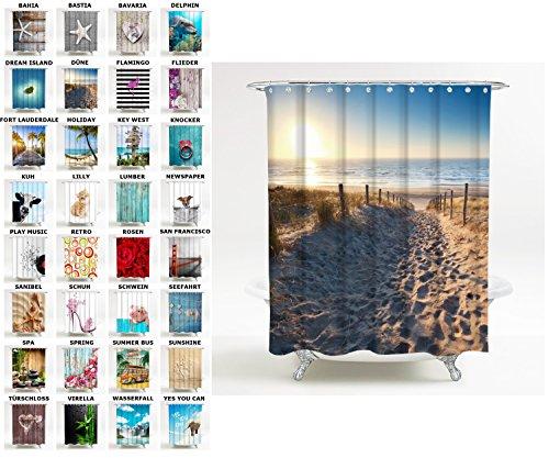 Sanilo Duschvorhang, viele schöne Duschvorhänge zur Auswahl, Hochwertige Qualität, inkl. 12 Ringe, wasserdicht, Anti-Schimmel-Effekt (180 x 200 cm, Düne)