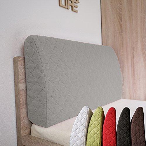Sabeatex Rückenlehne für Bett, Sofakissen, Rückenkissen für Lounge-oder Palettenmöbel in 5 trendigen Farben. Länge 90 cm, Höhe 45 cm Farbe: (Grau)