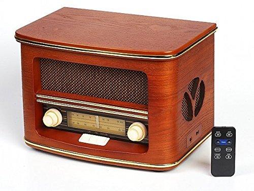 Vintage Radio, Retro Radio CD Spieler ,CD/MP3 , FM-LW  USB-Anschluss und Fernbedienung   Radio mit Echtholz-Gehäuse  Nostalgisches Radio Holzfarbe Design   Retro Radio für küche