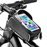 Lachesis Fahrrad Rahmentasche, Wasserdicht Fahrrad Handytasche Aufbewahrungstasche für Die Vordere Obere Touchscreen-Sonnenblende mit Kopfhöreröffnung für Die Meisten Smartphones unter 6,0 Zoll
