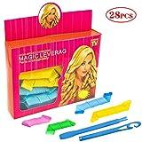 28 Stk Lockenwickler Set 35cm bis 70cm DIY Spiral Curls Lockenstyling mit Haar Wickler Styling Haken Keine Hitze Magic Locken Curler Werkzeuge