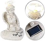 Lunartec Grablicht: Schutzengel-Figur mit Solar-LED-Licht, 7 LEDs, 20 cm, IP44 (Solar Grablicht)