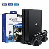 bedee PlayStation Ladestation Ständ, 4-in-1 PS4 Vertikaler Standfuß Kühler Lüfter und Dual Controller Ladegerät für PS4 / PS4 Slim / PS4 Pro mit 3 Eingebaute Cooling Fan, 12 Slots für Spielhüllen Halterung