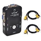 2 Port USB KVM Switch Box VGA + 2Stk Kabel für PC Monitor / Tastatur / Maus-Steuerung (2 Port USB KVM Box)