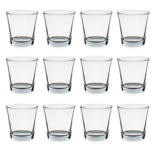 Teelichtgläser, 12er Set Trichterform 7,5 x 5,5 x 7,5 cm für Tischdeko, Gastgeschenke, Hochzeitsdeko, Partydeko etc.