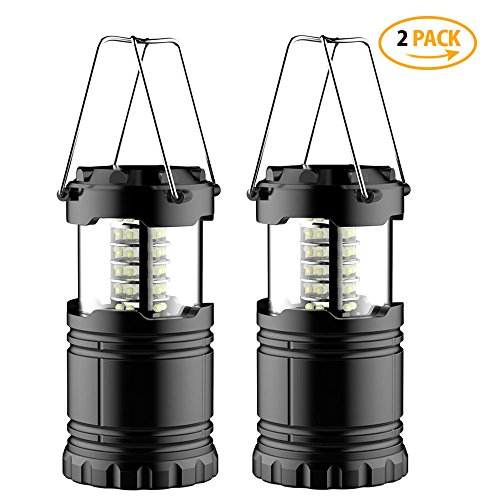 [2 Pack] LED Laterne – Zusammenklappbare Campinglampe – geeignet für: Wandern, Camping, Notfälle, Hurricanes, ausfällen – Super Hell – leicht – wasserabweisend - 10 JAHRE GARANTIE