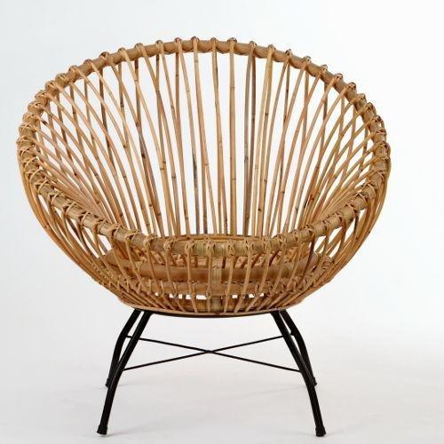 animal-design Rattanstuhl SANTIKA (60000) Korb-Stuhl oval Retro Vintage Sessel Lounge Esszimmer Küche Bistro Balkon Terrasse