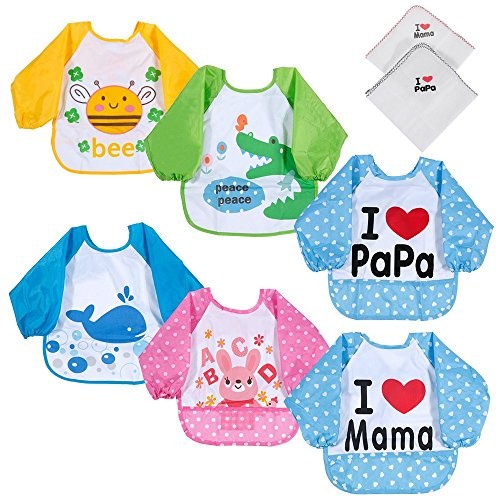 Lictin 6 Set Lätzchen mit Ärmeln Baby Lätzchen Ärmellätzchen Wasserdicht mit 2 Taschentücher für Baby