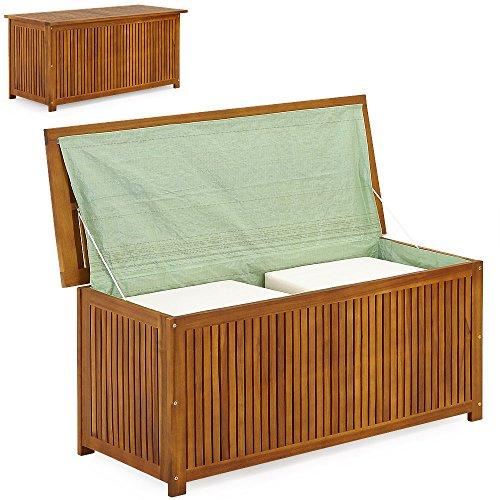 Auflagenbox Holz  Akazie  XXL 117cm  mit Innenplane  vorgeölt - Holztruhe Holz Kissenbox Gartenbox Gartentruhe Truhe