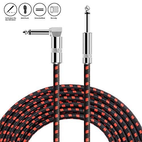 NEUMA 10Ft / 3M Gitarrenkabel, klinkenkabel 1/4 gerade bis rechtwinklige Audio-Instrumentenkabel für E-Gitarre, Bass-Gitarre, elektrische Mandoline, Pro Audio