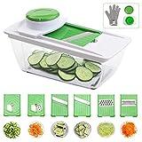 Corafei Gemüseschneider Spiralschneider mit 6 Austauschbaren Klingen (Spiralen, Scheiben, Rieben, Streifen) Handschuh + Gemüsehalter