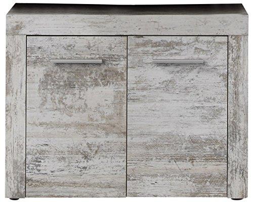 Trendteam 1259-301-68 Badezimmer Waschbeckenunterschrank Unterschrank Cancun Boom, 72 x 56 x 34 cm in Pinie Canyon White Dekor mit Siphonausschnitt