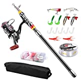 Angelrute Teleskoprute Combo Full Kit, Fishing Rod, FishOaky 2.1M Carbon Fiber Angelruten Angeln Rute Pole Set mit 100 m Line Kunstköder Haken und Angeln Tasche Fall für Kinder & Erwachsene