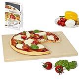 Amazy Pizzastein inkl. Beileger mit Rezeptideen – Der ultra-hitzebeständige Brotbackstein verleiht Ihrer Pizza den original italienischen Geschmack knusprig-zarter Steinofenpizza (38 x 30 x 1,5 cm)