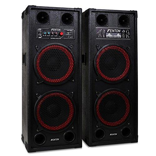 Fenton SPB-210 • PA-Aktiv-Lautsprecher • 1200W max. Leistung • je 2 x 10-Woofer und 2 Piezo-Hochtöner • USB- und SD/MMC-Slots • Tragegriffe • Schutzecken und Boxengitter aus Metall • schwarz-rot