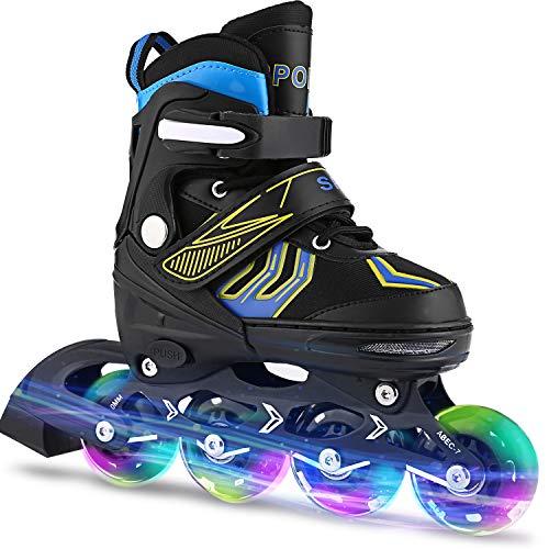 Weskate Inline Skates Kinder/Erwachsene verstellbar mädchen/Jungen Inline Skates Rollschuhe PU Verschleißfeste Roller Skates Herren/Damen