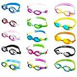 Schwimmbrille für Kinder inkl. Transportbox + Anti-Beschlag-Schutz + UV Schutz + verstellbares Silikonband | bis ca. 12Jahre / perfekte Passform | Chlorbrille Kinderschwimmbrille | gelb/blau