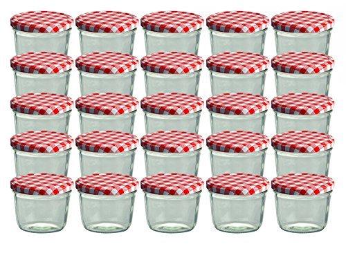 25er Set Sturzglas 230 ml Marmeladenglas Einmachglas Einweckglas To 82 rot karrierter Deckel