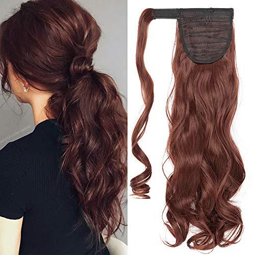 TESS Ponytail Extension Pferdeschwanz Haarteil Clip in wie Echthaar Haarverlängerung günstig Zopf Extensions Haarteile Gewellt 17'(43cm)-90g Rotbraun
