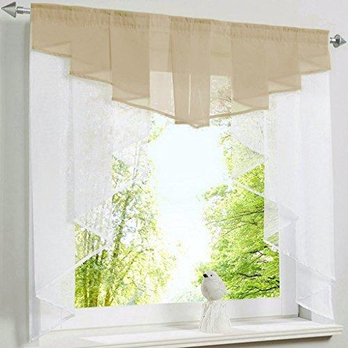 HongYa transparenter Voile Scheibengardine Tunnelzug Kurzstore Küche Kleinfenster Gardine