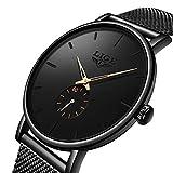 Lige Uhr Herren Quarzuhr Ultra Dünne Schwarze Armbanduhr für Herren Classic Minimalistisches Design mit Datum Kalender mit EdelstahlMesh-Metallarmband